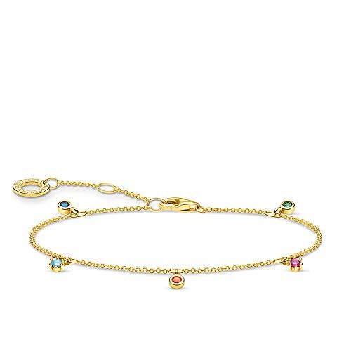 Thomas Sabo Coloured Stones Gold 925 Sterling Silver Bracelet of Length 16-19cm