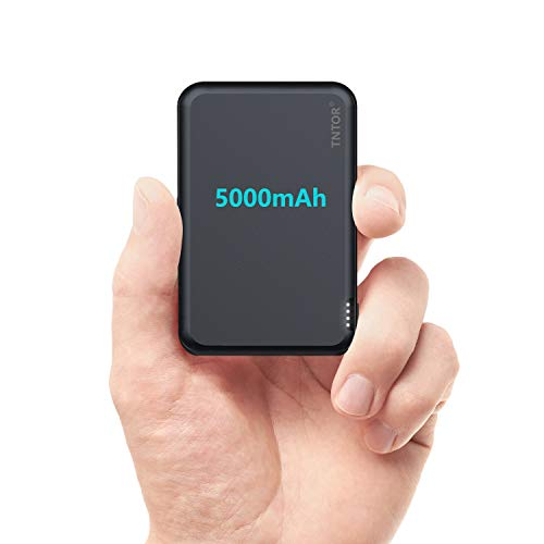 TNTOR 5000mAh Powerbank Klein, Deluxe Aluminiumgehäuse Mini Externer Akku für iPhone Samsung Android (Schwarzblau)