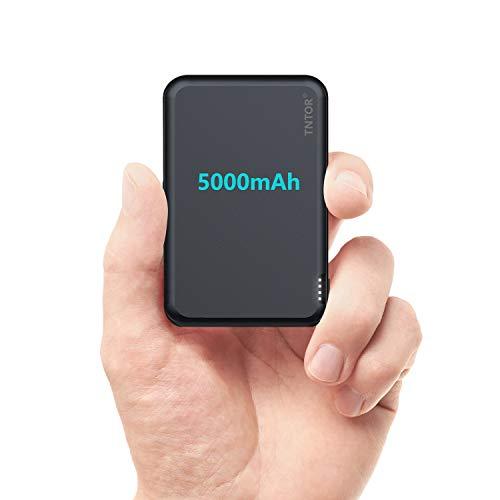 TNTOR 5000mAh Powerbank Klein, Deluxe Aluminiumgehäuse Mini Externer Akku für iPhone iPad Android (Schwarzblau)