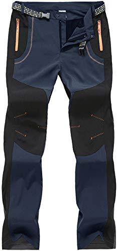 Pantalon de Randonnée Homme Pantalon Décontracté à Séchage Rapide Outdoor Pantalon D'été Léger Hiking Pantalon de Marche Extérieur Pantalon de Pêche Pantalon imperméable Camping Poche zippée Bleu