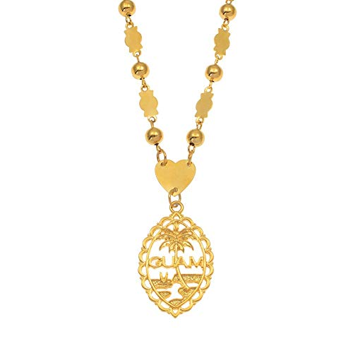 STORE247 - Guam Pendant with 6mm Ball Beads Necklaces for Women Girls Gold Color Mariana Guam Jewelry Gifts 60cm