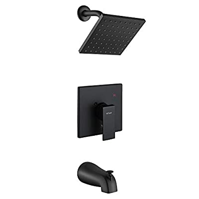 ESNBIA Shower Tub Kit, Tub and Shower Faucet Set?Valve Included) with 6-Inch Rain Shower Head and Tub Spout, Single-Handle Tub and Shower Trim Kit, Matte Black