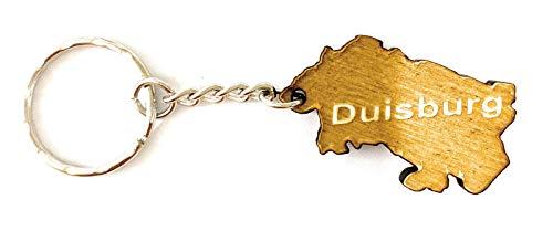 Schlüsselanhänger aus Holz 'Duisburg' graviert tolles Geschenk für Frauen und Männer Handmade in Germany 3cm x 2cm