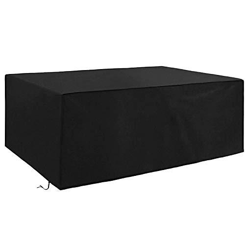 QIAOH Cubiertas para Muebles De Patio 255x130x80cm, Fundas para Mesas De Exterior Cuadrada Prueba De Polvo Viento/Nieve Funda De Muebles De Jardín Resistentes Al Desgarro Cubierta Impermeable