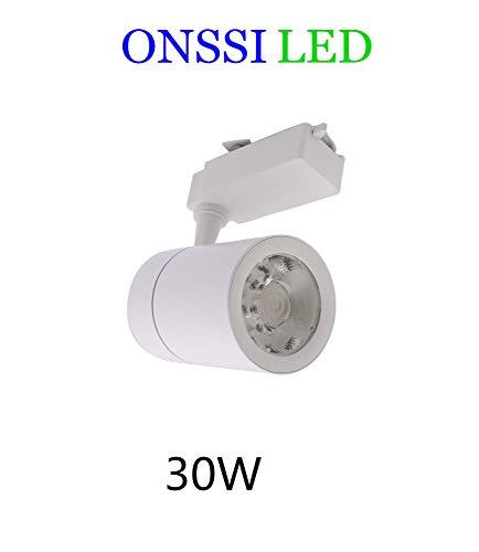 Foco de Carril LED COB 30W Monofásico Blanco Neutro 4000k-4500k Alta Luminosidad Foco Led de Techo, Iluminacion de Comecial ONSSI LED