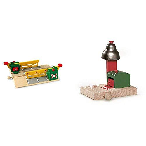 Brio 33750000 - Magnetische Kreuzung &  World 33754 Magnetisches Glockensignal – Eisenbahnzubehör Holzeisenbahn – Kleinkinderspielzeug empfohlen für Kinder ab 3 Jahren