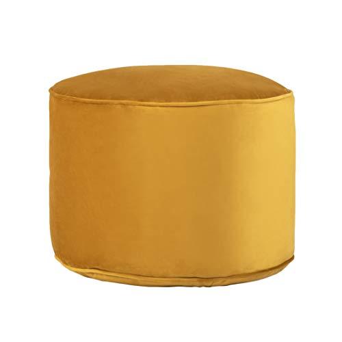 Loft 25 Premium Round Velvet Bean Bag Footstool | Indoor Home Living Room Filled BeanBag Pouffe | Ergonomic Design for Body Support | Durable & Comfortable (Turmeric Yellow)