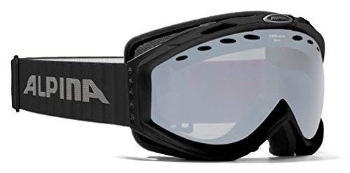 ALPINA CYBRIC HM Skibrille Snowboardbrille Snow Google Schneebrille A7078(Rahmen: BLACK Glas: HYBRID MIRROR BLACK / S3)
