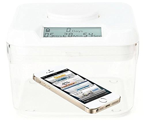 Kitchen Safe Time Locking Container (Mini), Timed Lock Box for Cell Phones, Snacks, and other unwanted temptations (White Lid + 5cm Clear Base)