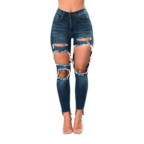 Betrothales Damen Loch Hosen Trousers Hose Zerrissen Risse Am Jeans Denim Slim Fit Knie Skinny Jeanshose Stretch Hochbund Damen High Waist Mit Löcher Cher (Color : Colour, Size : S)