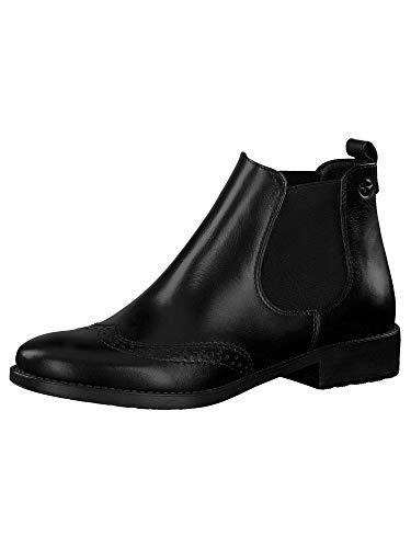 Tamaris Damen Stiefeletten, Frauen Chelsea Boots, flach weiblich Lady Ladies Women's Women Woman Business geschäftsreise büro,Black,40 EU / 6.5 UK