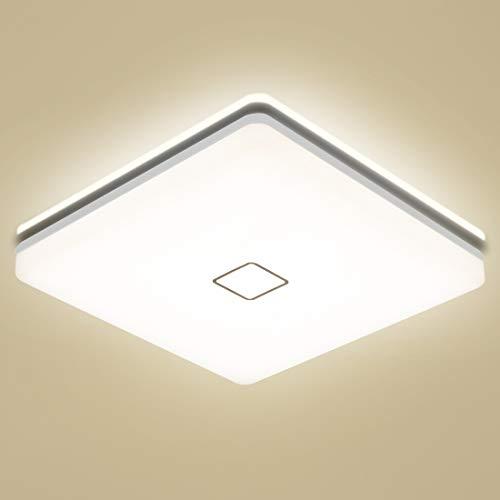 Öuesen Plafonnier LED 24W Salle de bains, Luminaire Plafonnier 4000K Blanc Naturel, Lampe LED 2050LM pour Salon Chambre Couloir Eclairage Intérieur, IP44