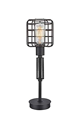 """Major-Q 91206T-BK 18"""" Industrial Style Black Metal Bird Cage Frame Table Lamp with USB Port"""