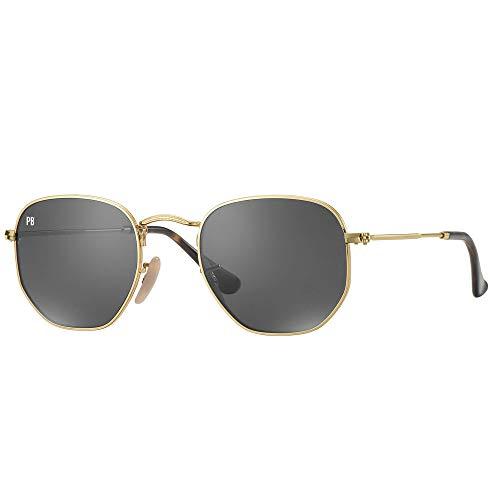 PB Sunglasses | Hexagon Sonnenbrille Herren und Damen Gold Polarisiert