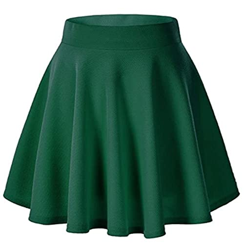 Falda de cintura alta para mujer básica de cintura elástica negra texturizada llamarada una línea mini falda corta minimalista 🔥