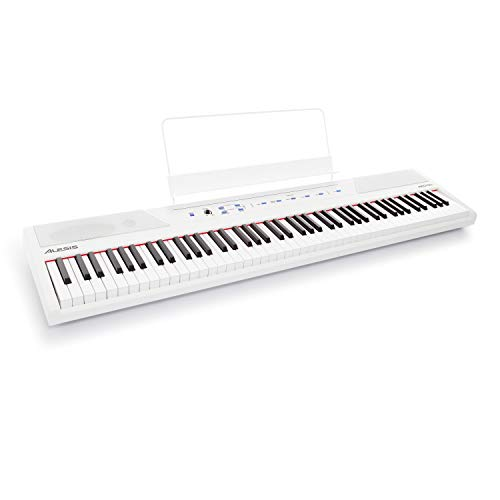 Alesis Recital White – 88 Key Digital Electric Piano / Keyboard with Semi Weighted Keys, Power Supply, Built-In Speakers and 5 Premium Voices (Amazon Exclusive)