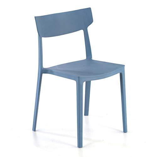 Ofiprix Silla Folk Silla confidente Silla de Colectividad Silla de Exterior 4 Patas Color Azul