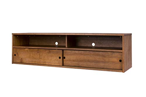 Memomad Wandsideboard Charme - Vielseitiges Lowboard aus massiv Holz Kiefer - Moderner Konsoltentisch oder Wandregal mit 2 Schubladen und 2 Ablagen - Farbe Oak Brushed