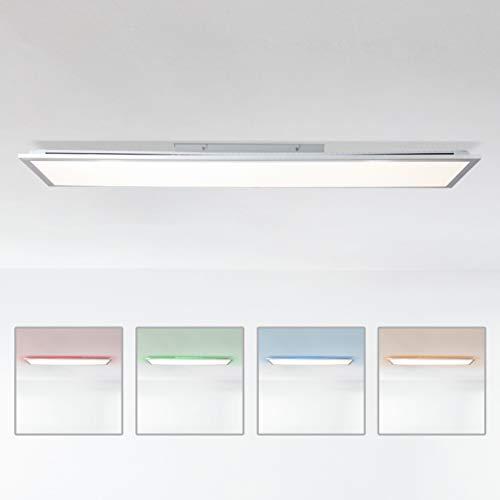 LED Panel Deckenleuchte dimmbar per Fernbedienung, 120x30cm, 42 Watt aus Metall/Kunststoff in silber/weiß