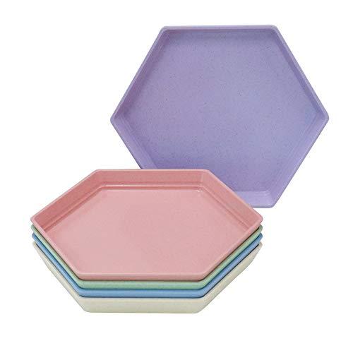 Confezione da 5 piatti da dessert, 17 x 15 cm, riutilizzabili, piccoli piattini da dessert, set da tavola per frutta, caramelle, contorni (esagono) (15 cm, 5 colori)
