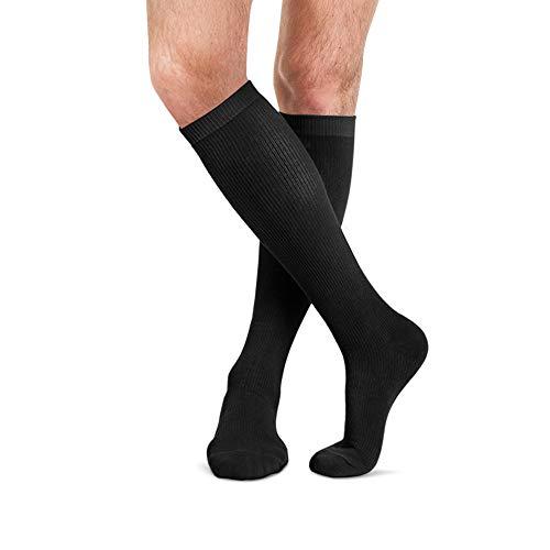 FYTTO 4080 kniehohe Kompressionsstrümpfe aus Baumwolle Klasse 1 mit medizinisch abgestufter Kompression 15-20 mmHg, medizinische Stützstrümpfe für Damen & Herren - schwarz, XXL