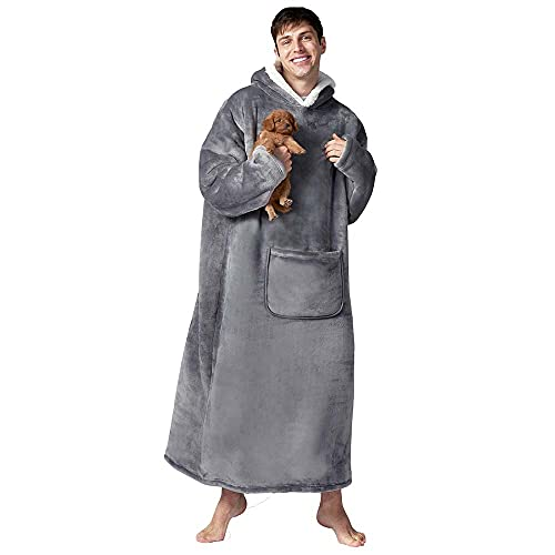 Hansleep Hoodie Blanket Oversized Ultra Soft Sherpa & Fleece Warm Comfy Fluffy Snuggle Huggle Wearable Jumper Giant Hooded Sweatshirt, One Size fits All Women Girls Adults Mens Boys - Grey