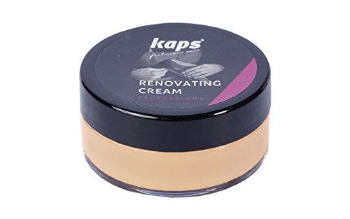 Kaps Crème de rénovation pour chaussures en cuir lisse Sacs Sièges, Housse anti-rayures et éraflures, Crème de rénovation, 10 couleurs (130 - beige)
