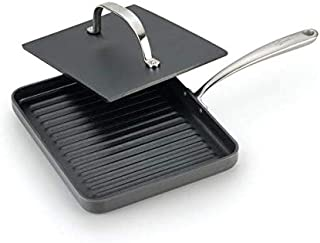 Lagostina Nera Hard Anodized Nonstick 10-Inch Panini Pan with Cast Iron Press, 2-Piece Cookware Set, Dishwasher Safe,Grey