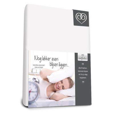 Bed-Fashion Flanellen Hoeslaken Comfort 90 x 210, voor matrassen Tot 22 cm dik, Katoen, Wit, Enkel