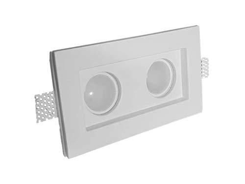 Porte spot double en plâtre céramique à compartiment PF8D lot de 10 pièces + ressort blocage ampoule