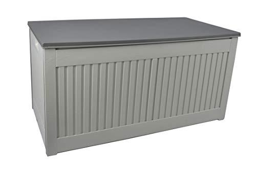 Gardtech Auflagenbox/Kissenbox in Grau/Schwarz mit 270 Liter Nutzvolumen- robust 100% Wasserdicht abwaschbar und einfach im Aufbau Aufbewahrungsbox für Terrassenmöbelkissen im Freien