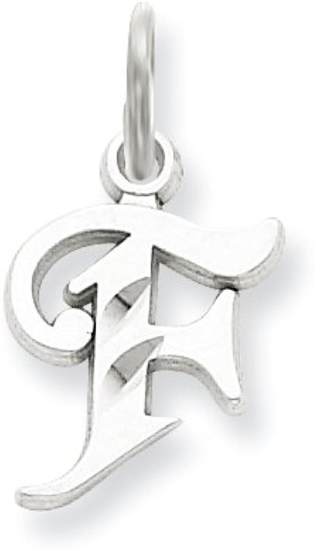 Diamond2Deal 14k White gold Diamondcut Initial F Pendant