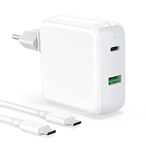 IFEART Cargador USB C Compatible con MacBook Air 2020/2019/ 2018, MacBook Pro, iPad Pro 12,9/11 Pulgadas, iPad Air 4, Samsung S21/ S20, Pixel, 48W 2 Puertos Cargador Rápido, Cable USB C a C de 2M