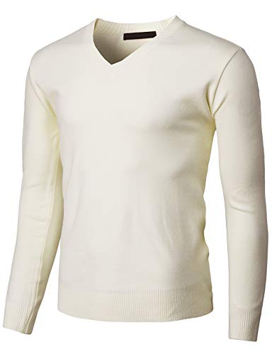H2H Mens Casual Slim Fit Pullover Sweaters Long Sleeve Lightweight Thin Fabric Ivory US L/Asia XL (KMOSWL255)