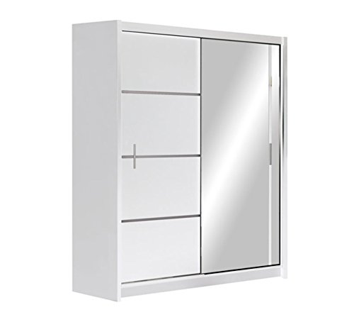 Mirjan24 Kleiderschrank Rapid, Schwebetürenschrank mit Spiegel, Schiebetür, Elegantes Schlafzimmerschrank, Schlafzimmer, Jugendzimmer (Weiß/Spiegel, 150 cm)