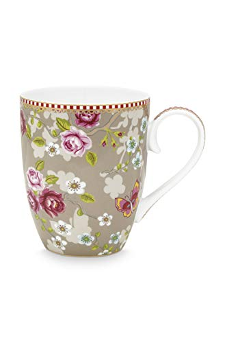 Pip Tasse groß, Fassungsvermögen 350 ml, Muster Chinese Rose, Farbe Khaki