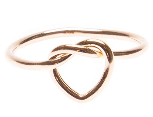 Happiness Boutique Anello Nodo Cuore in Oro Rosa | Anello Minimal Nodo Incrocio Senza Nickel