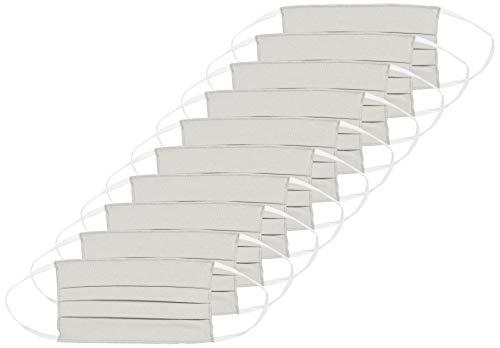 Oscar Apparels Wiederverwendbare Stoffmaske, 100% BCI Baumwolle mit elastischer Schlaufe, Grau, Erwachsene (10er Pack)