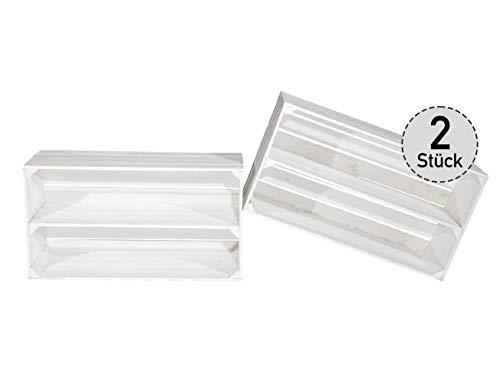 Große Shabby Chic Holzkiste mit Mittelbrett/XXL Obstkiste in weiß mit Zwei Fächern als Schuhregal Schuhschrank Bücherregal Unterschrank Sideboard Kiste Sitzbank mit Ablage 68x40,5x31cm