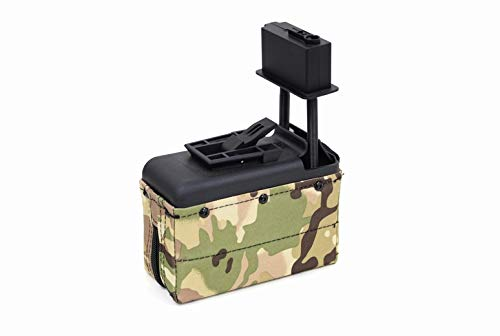 A&K M249 MINIMI Mk46 電動ガン対応 1500連 音感巻き上げ機能付 BOXマガジン マルチカム