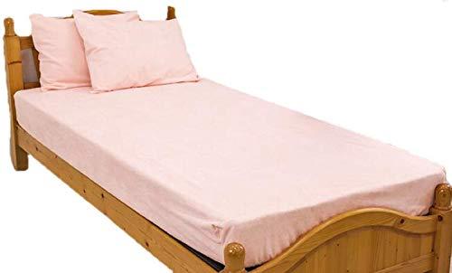 防水シーツ シングル ボックスシーツ ロングパイル おねしょシーツ ロング綿パイルの防水BOXシーツ(100×200×30cm) ピンク