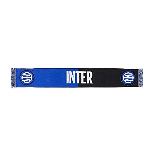 Inter Sciarpa Nuovo Logo Bicolor, Jacquard, Unisex Adulto, Nero/Blu, Taglia Unica
