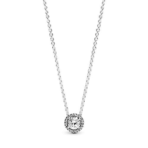 Pandora Jewelry Round Sparkle Halo Cubic Zirconia Necklace in Sterling Silver, 17.7