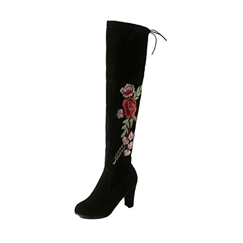 Price comparison product image chegong Women's Thigh High Boots Faux Suede Leather Embroidered Chunky Heel Over The Knee Boots Black Floral 37