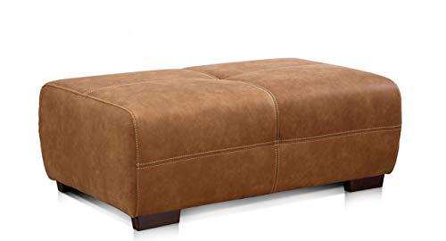 Cavadore Hocker Mavericco / XXL Polsterhocker rechteckig in Lederoptik / Industrial Style / Passend zu Big Sofa und Ecksofa Mavericco / 108 x 71 x 41 cm (BxHXT) / Mikrofaser Cognac