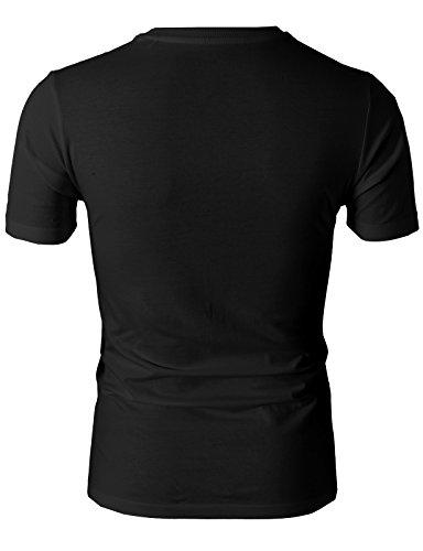 H2H Mens Casual Slim Fit Short Sleeve V-neck T-Shirt BLACK US L/Asia XL (KMTTS0380)