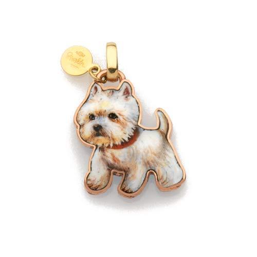 Gabriella Rivalta hanger hond Westy goud en nagellak