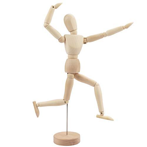 Kurtzy Gliederpuppe aus Holz 30,5cm Holzpuppe Menschlicher Körper Mannequin mit Ständer - Verstellbare Glieder Puppe Zeichenpuppe Schneiderpuppe Holzmännchen zum Zeichnen, Malen, Kunst, Modellfigur