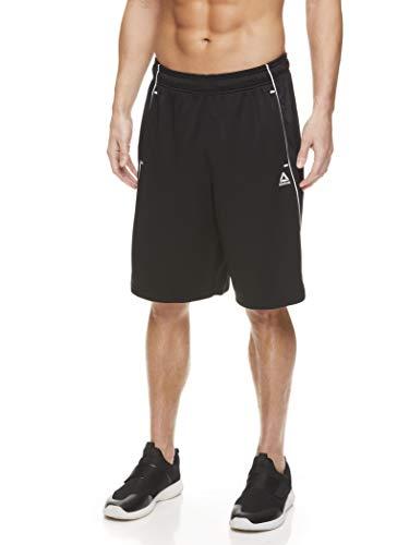 Reebok Men's Mesh Basketball Gym & Running Shorts w/Elastic Drawstring Waistband & Pockets - Slam Dunk 2.0 Black, Medium