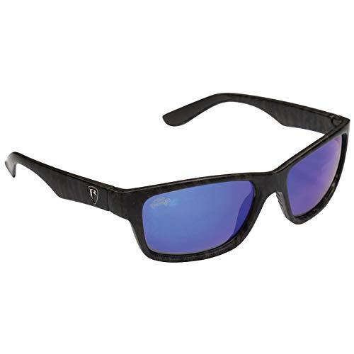 Fox Rage Camo Eyewear - Polarisationsbrille für Spinnangler & Fliegenfischer, Angelbrille, Sonnenbrille für Angler, Polbrille, Modell:offener Rahmen / graue Gräser mit blauer Oberfläche